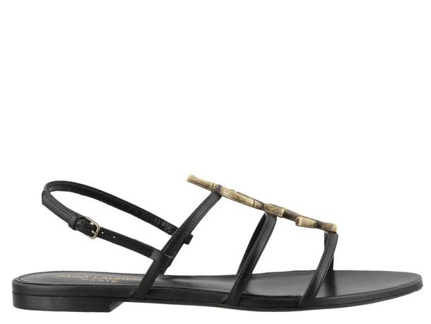 Saint Laurent Cassandra Flat Sandals in black