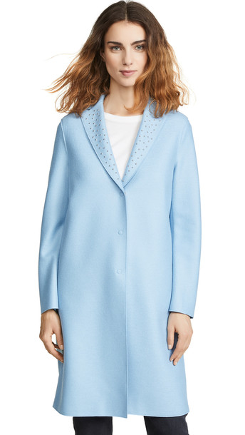 Harris Wharf London Overcoat with Studs in blue