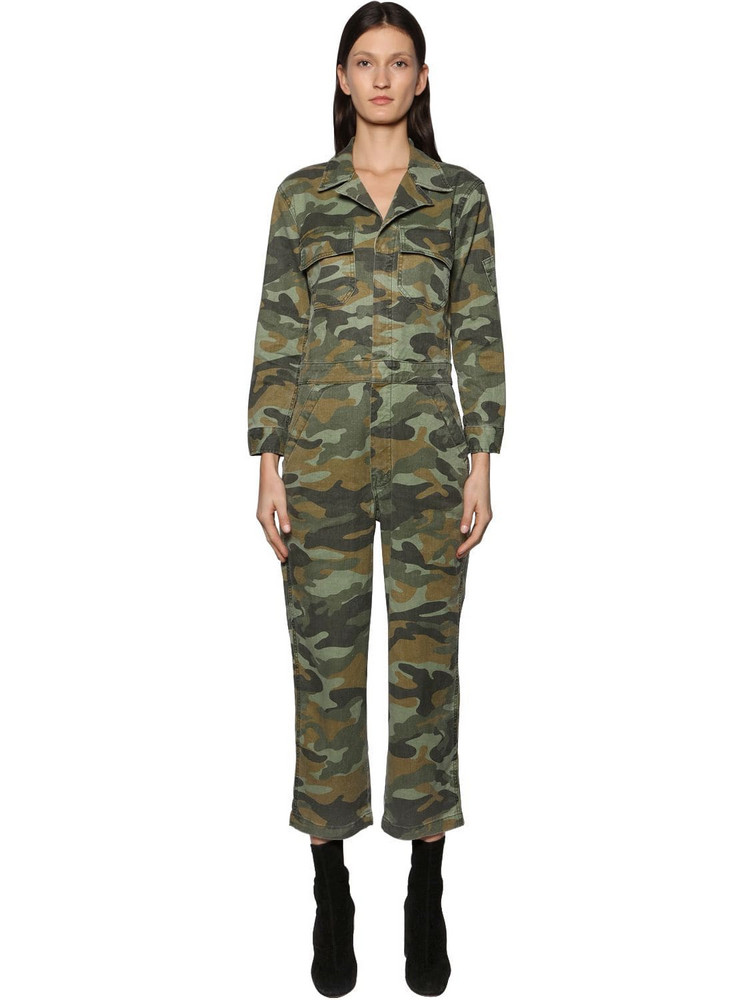 MOTHER The Fixer Camo Cotton & Linen Jumpsuit in green