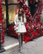 dress,flare dress,flare,mini dress,white dress,long sleeve dress,knee high boots,suede boots,grey boots,white bag,shoulder bag