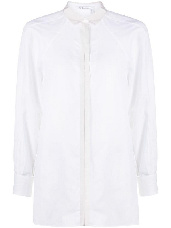 Agnona concealed button placket shirt in white
