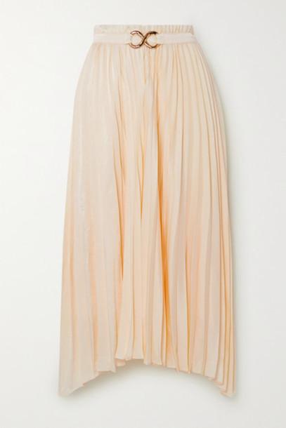 REJINA PYO - Kiera Belted Pleated Satin Midi Skirt - Ivory