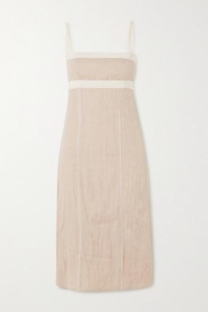 Brock Collection - Grosgrain And Chiffon-trimmed Linen-blend Dress - Ecru