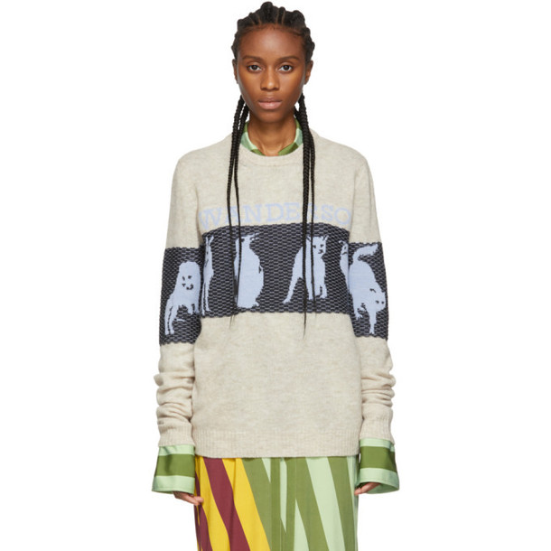 JW Anderson Off-White Jacquard Animal Sweater