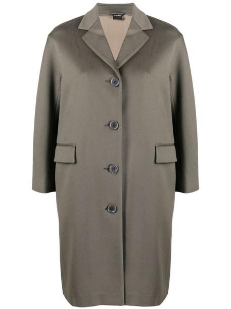 Aspesi single-breasted wool coat in grey
