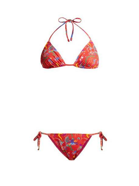 Etro - Printed Tie Side Bikini - Womens - Red