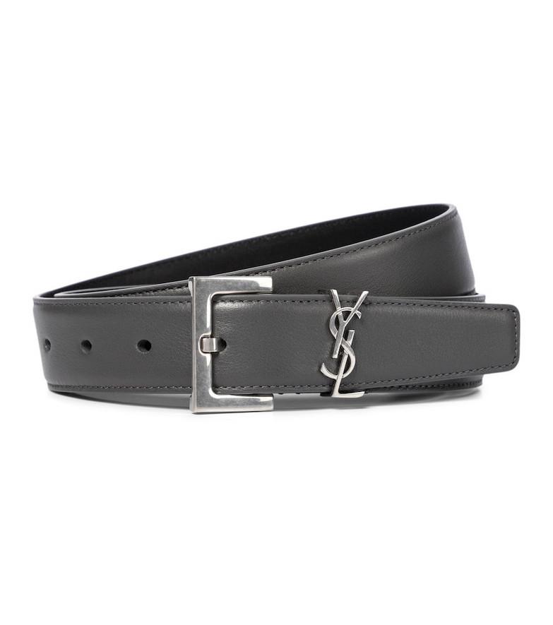Saint Laurent Monogram leather belt in grey
