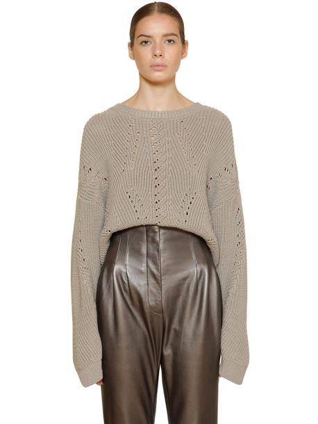 ALBERTA FERRETTI Wool Rib Knit Sweater in grey