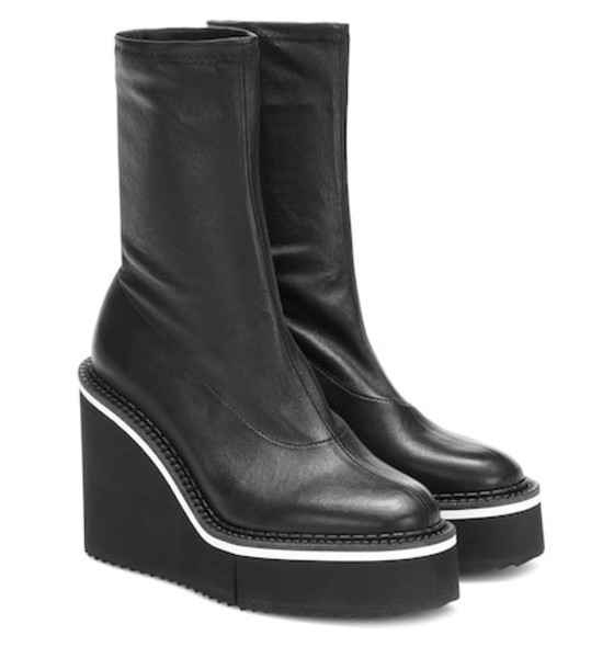 Clergerie Bliss leather platform ankle boots in black