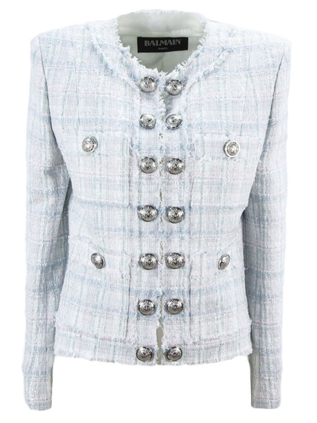 Balmain Blue, White And Silver Tweed Jacket