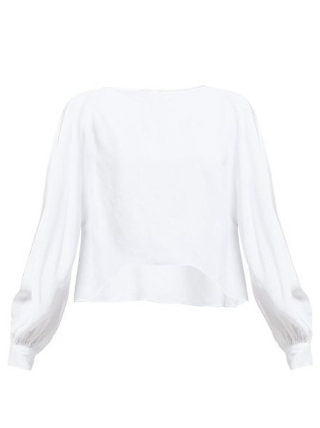 Alexandre Vauthier - Slit Batwing Sleeve Crepe Blouse - Womens - White
