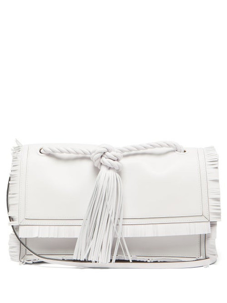 Valentino - Fringed Leather Crossbody Bag - Womens - White
