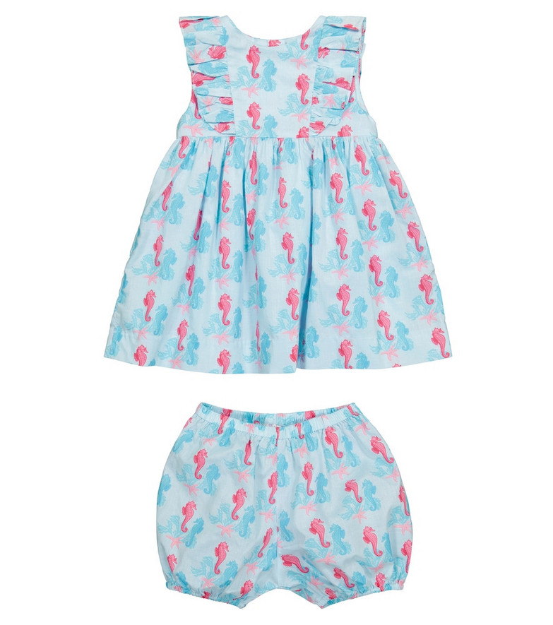 Rachel Riley Baby printed cotton dress and shorts set in blue