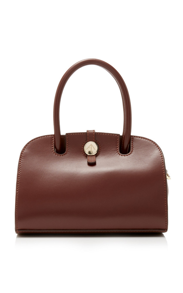 Manu Atelier Ladybird Micro Leather Shoulder Bag in burgundy
