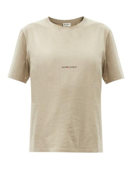 Saint Laurent - Logo-print Cotton-jersey T-shirt - Womens - Khaki