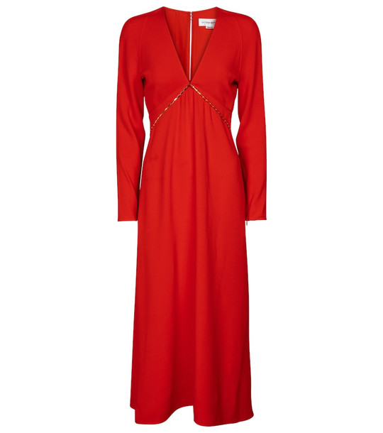 Victoria Beckham Embellished cady midi dress in red