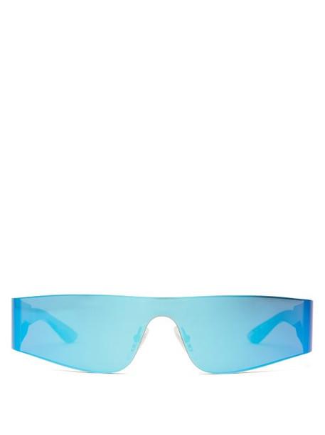 Balenciaga - Reflective Rimless Acetate Sunglasses - Womens - Blue