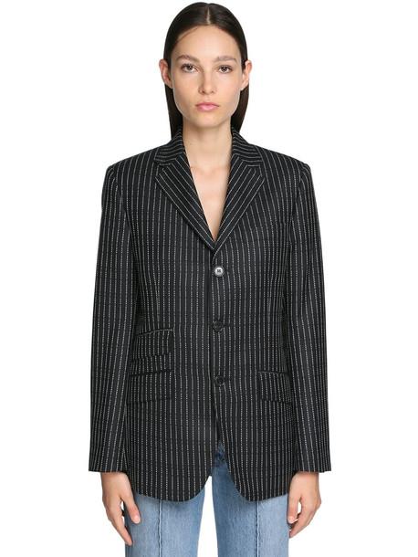 MAISON MARGIELA Logo Pinstripe Wool Twill Blazer in black / ivory