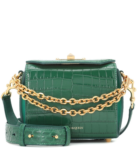 Alexander McQueen Box Bag 16 leather shoulder bag in green