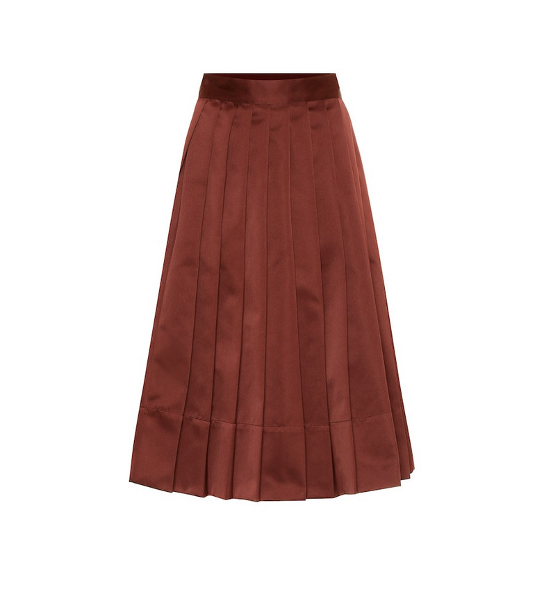 Plan C High-rise pleated satin midi skirt in brown