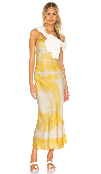 DANNIJO Embroidered Slip Dress in Yellow