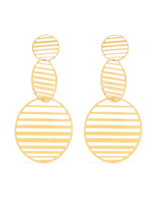 Hsu Jewellery flowing pattern triple circle earrings in gold