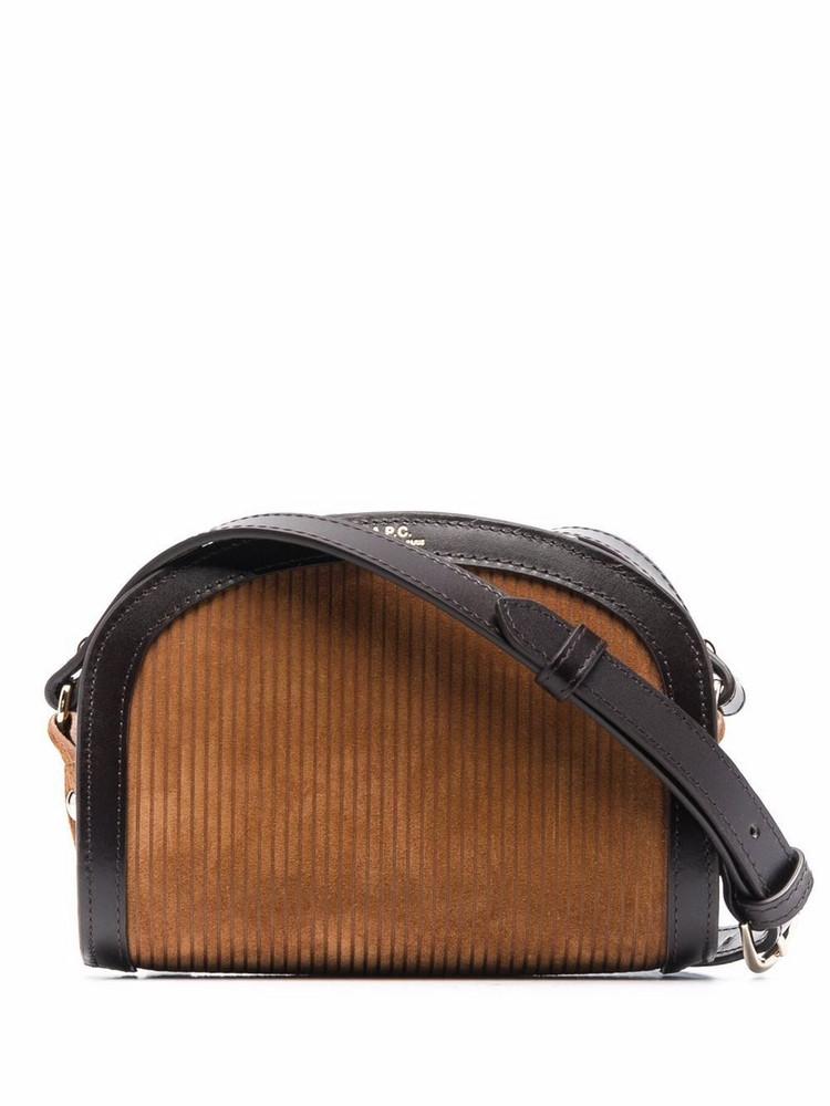 A.P.C. A.P.C. Demi-Lune corduroy crossbody bag - Brown