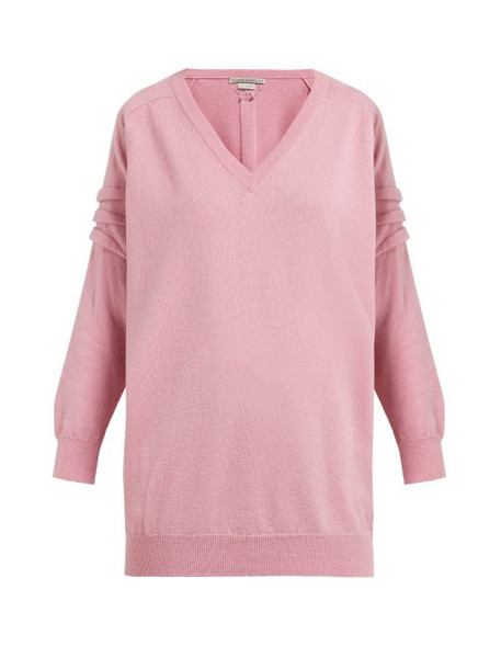 Queene And Belle - V Neck Cashmere Sweater - Womens - Light Pink