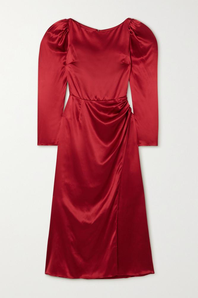 REFORMATION - Cameron Gathered Silk-satin Midi Dress - US8 in red