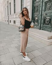 pants,cropped pants,wide-leg pants,white sneakers,crop tops,bag