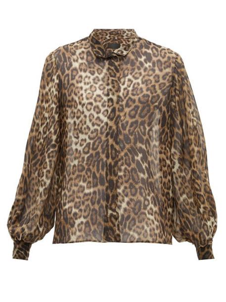 Nili Lotan - Evelyn Leopard Print Silk Chiffon Shirt - Womens - Leopard