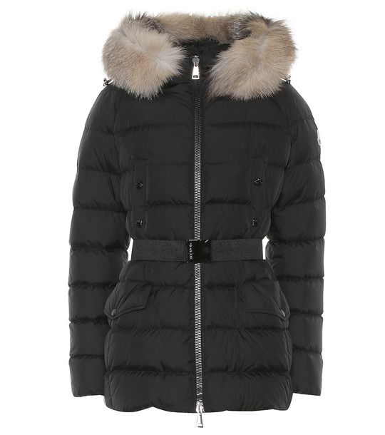 Moncler Clion quilted fur-trimmed down coat in black