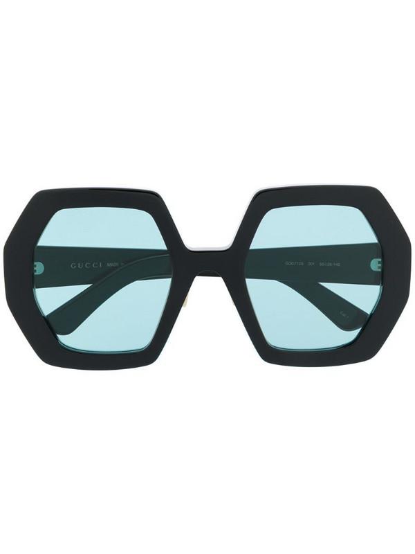Gucci Eyewear oversized heptagon-frame sunglasses in black