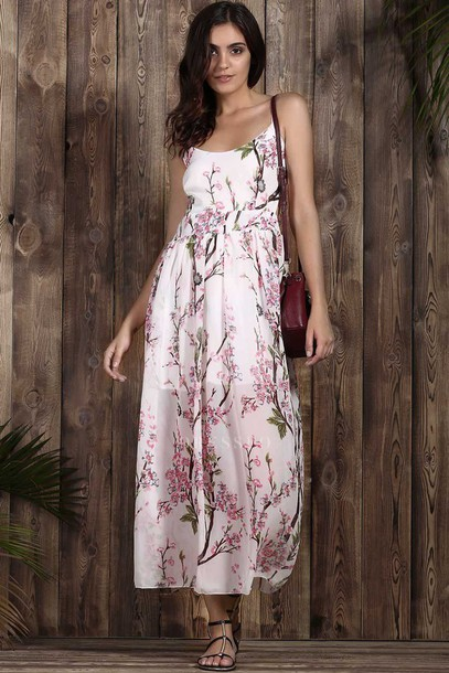 dress girly spring summer pink white maxi dress feminine floral dressfo