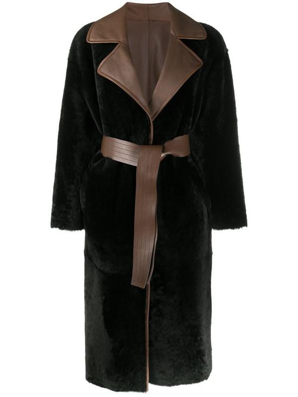 Blancha reversible wrap coat in brown