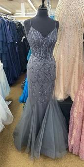 dress,grey,grey dress,prom dress,sequin dress,mermaid prom dress