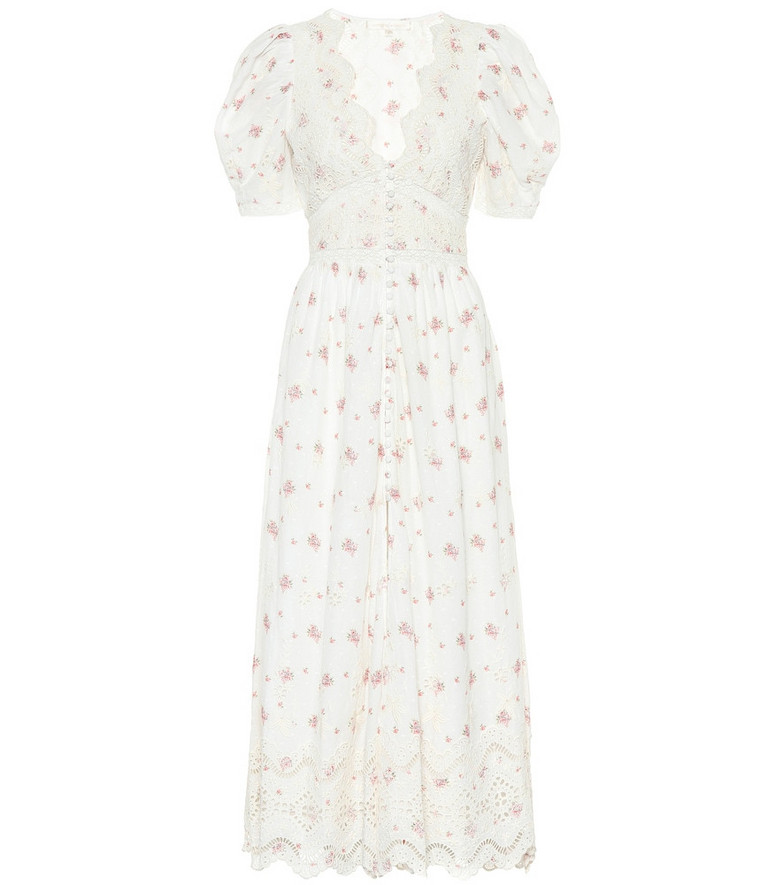 LoveShackFancy Stacy floral cotton midi dress in white