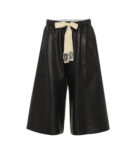 Loewe Wide-leg leather shorts in black