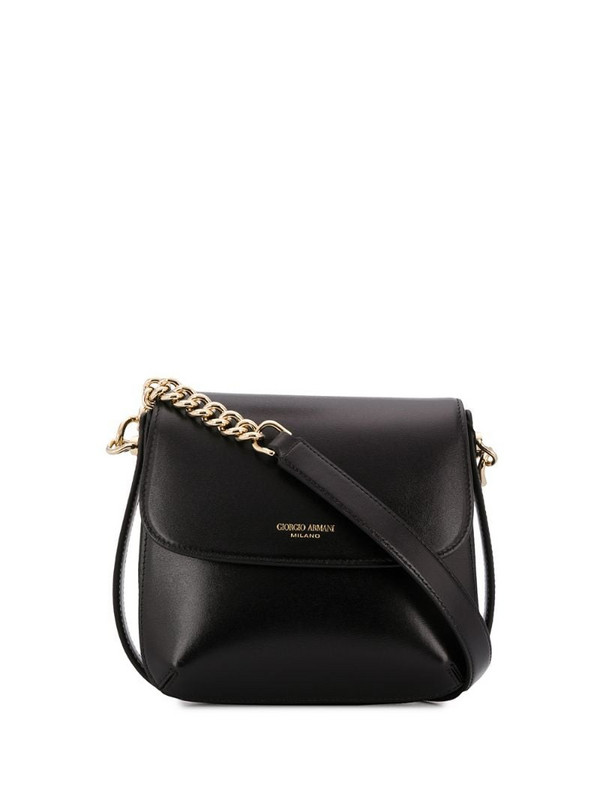 Giorgio Armani logo-print shoulder bag in black