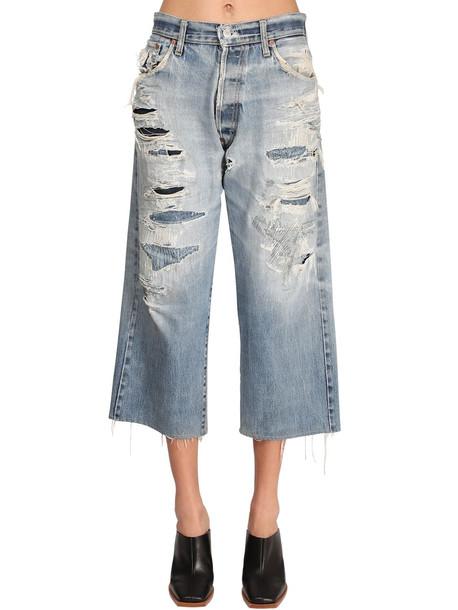 GIVENCHY Destroyed Baggy Cotton Denim Crop Jeans