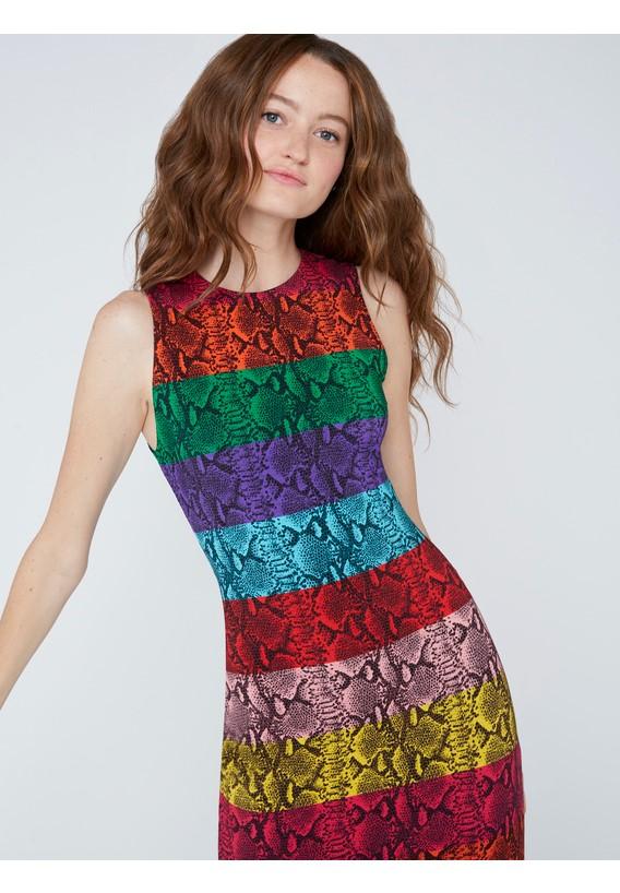 alice + olivia Delora Snake Skin Midi Dress