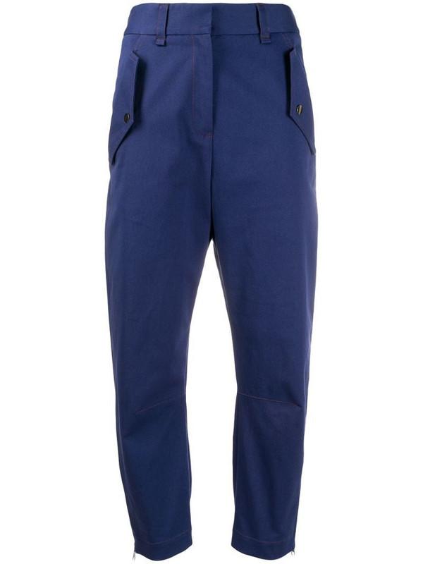 Brag-wette straight leg trousers in blue