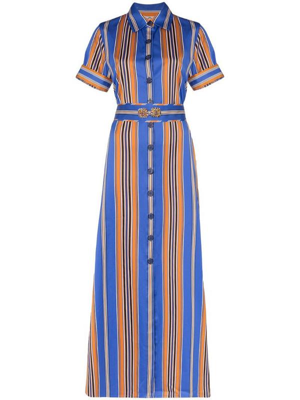 Evi Grintela Badi striped maxi shirt dress in blue