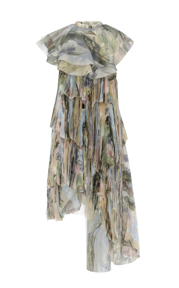 Aje Sunray Asymmetric Printed Chiffon Dress in print