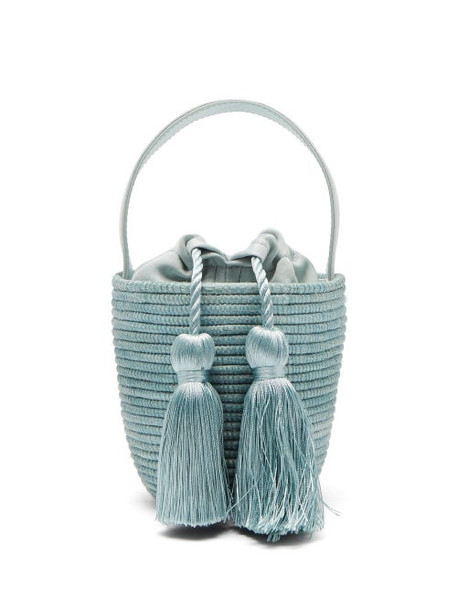 Cesta Collective - Party Pail Silk Tasselled Sisal Basket Bag - Womens - Green