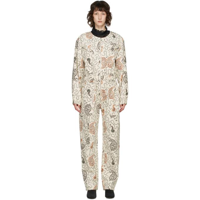 Isabel Marant Etoile Beige Printed Nilaney Jumpsuit in ecru