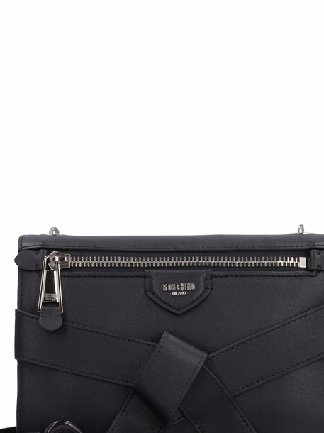 Moschino Leather Handbag With Decorative Belt Detail in black