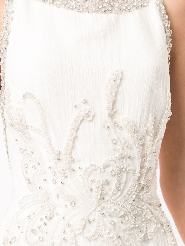 Saiid Kobeisy crystal embellished gown in white