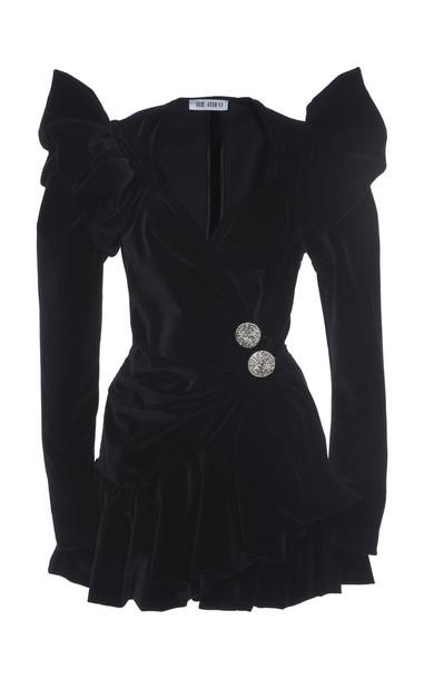 Attico Button-Embellished Velvet Mini Dress in black