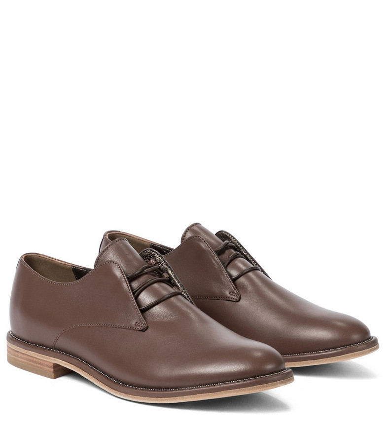 Brunello Cucinelli Embellished leather Derby shoes in brown